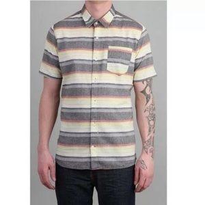 Volcom Slim Fit Horzy Striped Button Down Shirt M